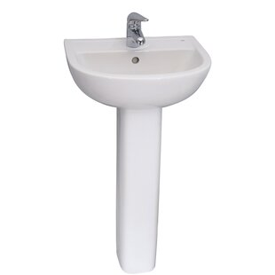 Barclay Vitreous China Circular Pedestal Bathroom Sink with Overflow