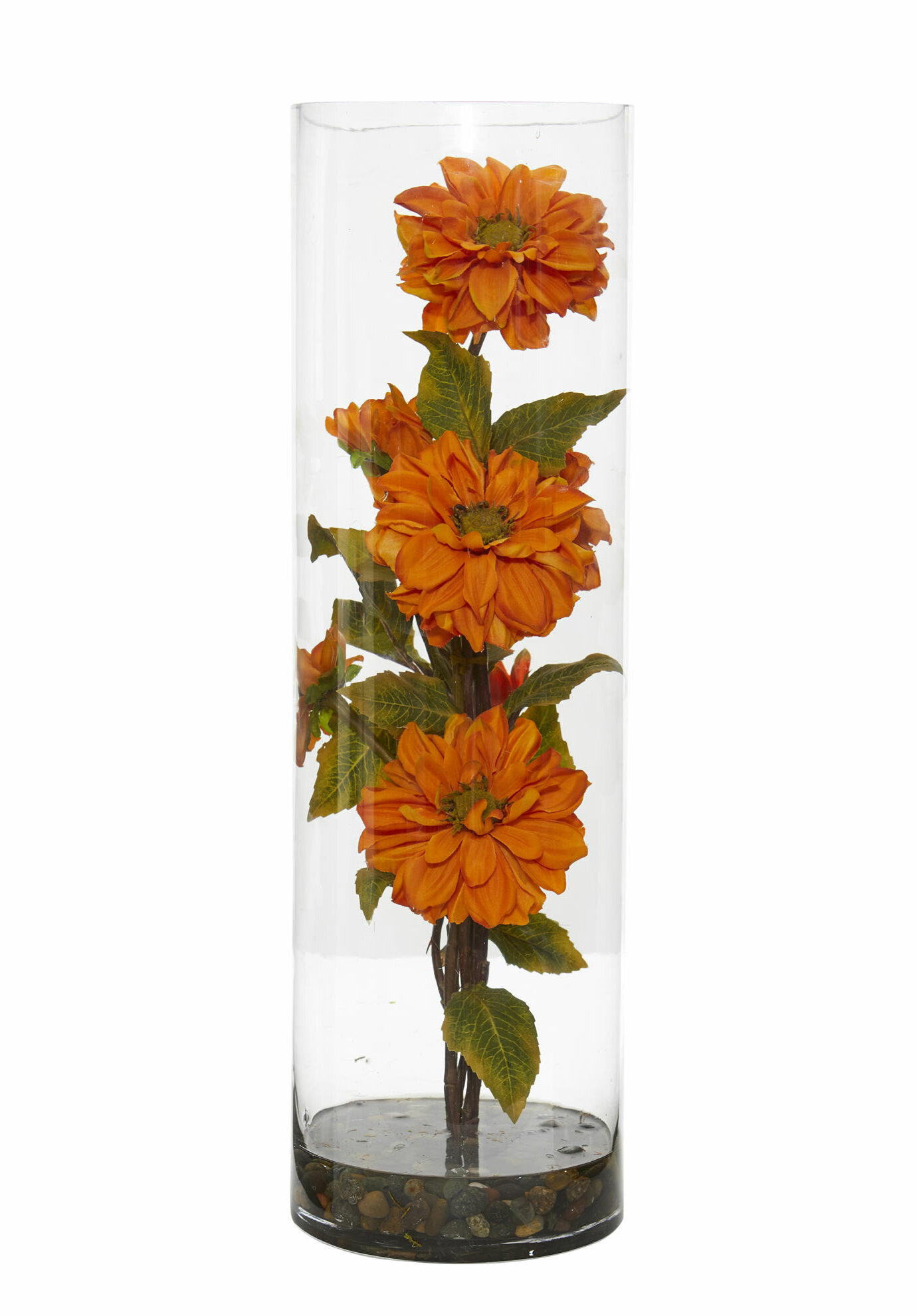 Charlton Home Artificial Zinnia Floral Arrangement In Vase Wayfair