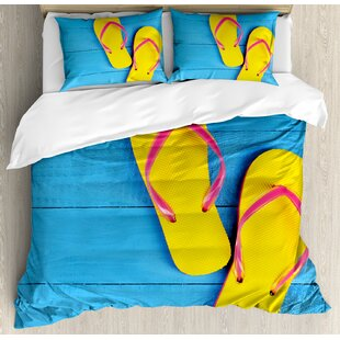 021636a2ad12ab Flip Flops on Wooden Pier Cheerful Holiday Travel Relax Duvet Cover Set