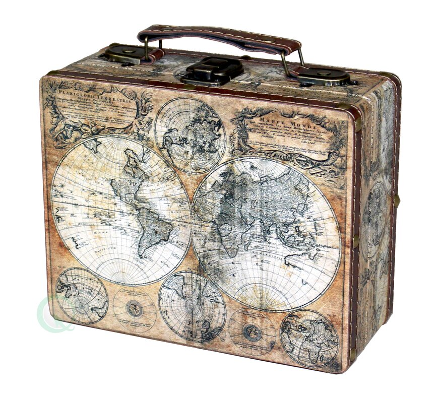 Williston forge small old world map suitcase clock reviews wayfair small old world map suitcase clock gumiabroncs Gallery