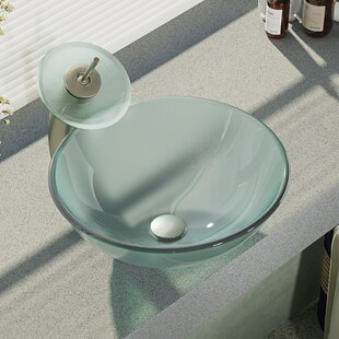 Glass Circular Vessel Bathroom Sink with Faucet by René