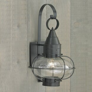 Withyditch 1-Light Glass Shade Outdoor Wall Lantern by Breakwater Bay