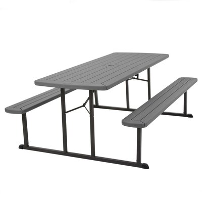 Adam Folding Plastic/Resin Picnic Table Color: Gray by Freeport Park