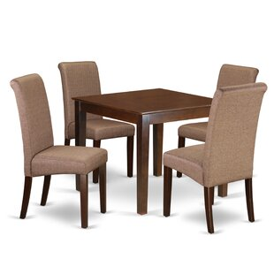 Araceli Square Table 5 Piece Solid Wood Breakfast Nook Dining Set