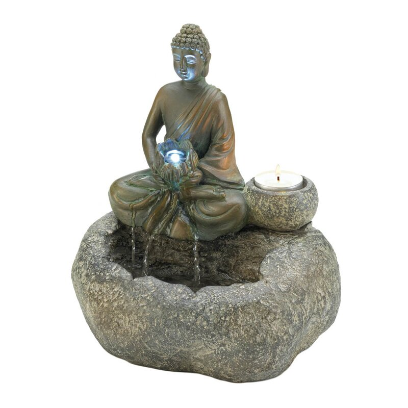 "Asian Zen Buddha Indoor Tabletop Water Fountain with Light 17/"" For Table Desk"