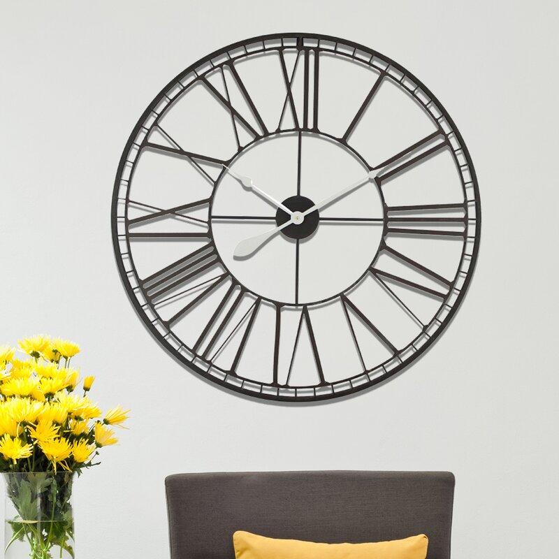 Charlton Home Oversized Elam Roman No Iron 31 5 Wall Clock Wayfair