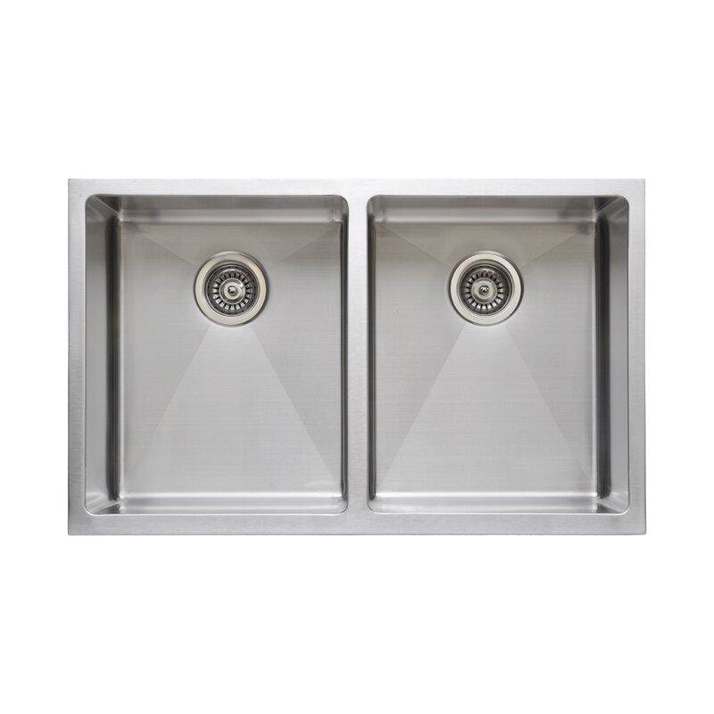 "Kitchen Sink 19 X 33: WELLS SINKWARE Chef's Series 33"" X 19"" Double Basin"