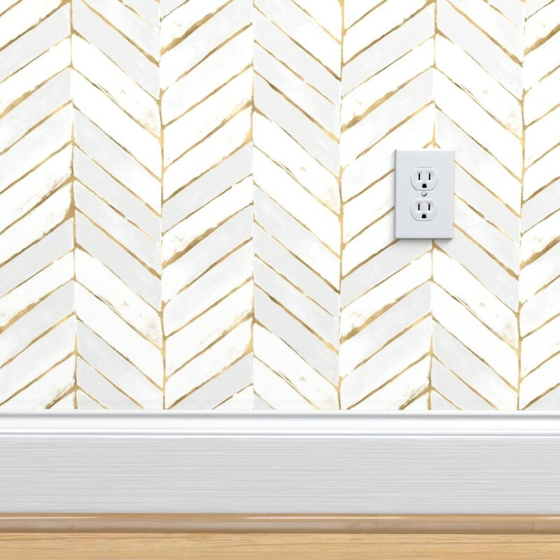 Peel-and-Stick Removable Wallpaper Herringbone Black And White Modern Chevron