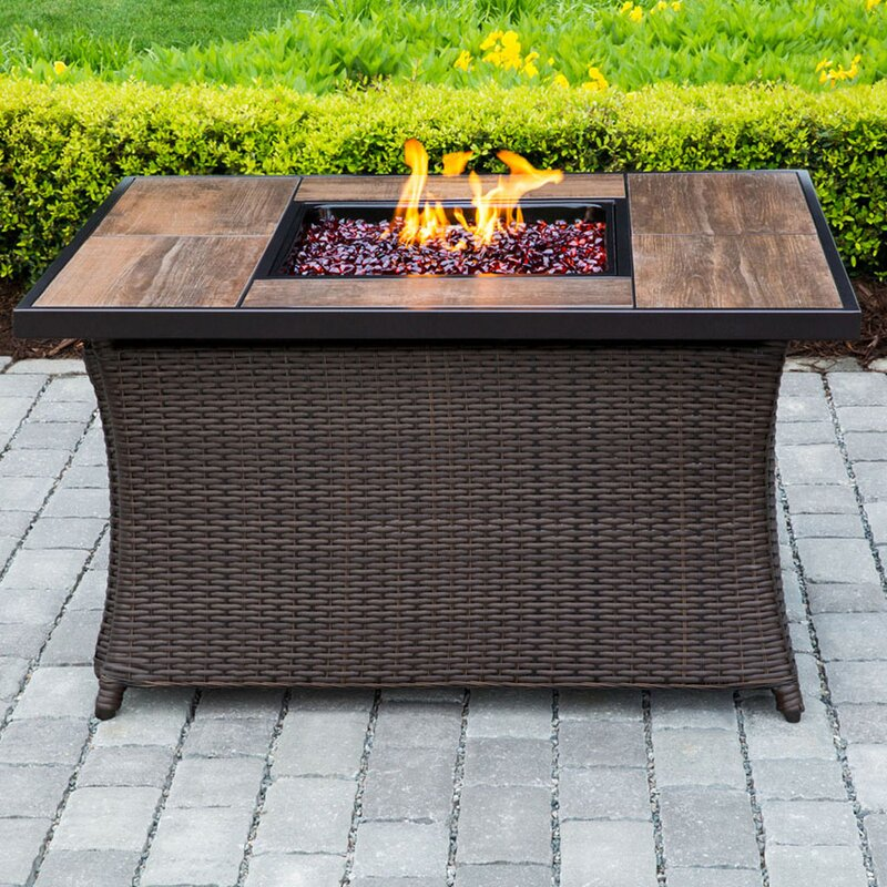 Hanover Wicker Propane Fire Pit Table Wayfair - Resin wicker fire pit table