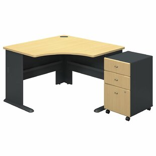 Series A L-Shape Executive Desk With 3 Drawer Mobile Pedestal by Bush Business Furniture Comparison