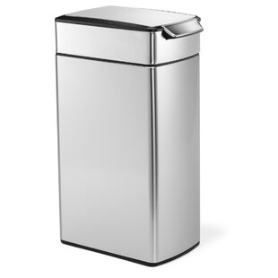 10 6 Gallon Slim Touch Bar Trash Can Brushed Stainless Steel