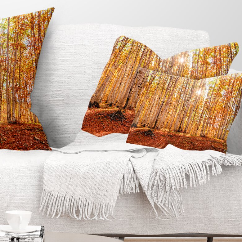 East Urban Home Forest Colorful At Sunset Lumbar Pillow Wayfair