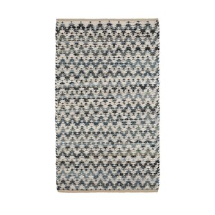 Check Prices One-of-a-Kind Erdman Hand Woven Wool/Cotton Blue/White Area Rug By Highland Dunes