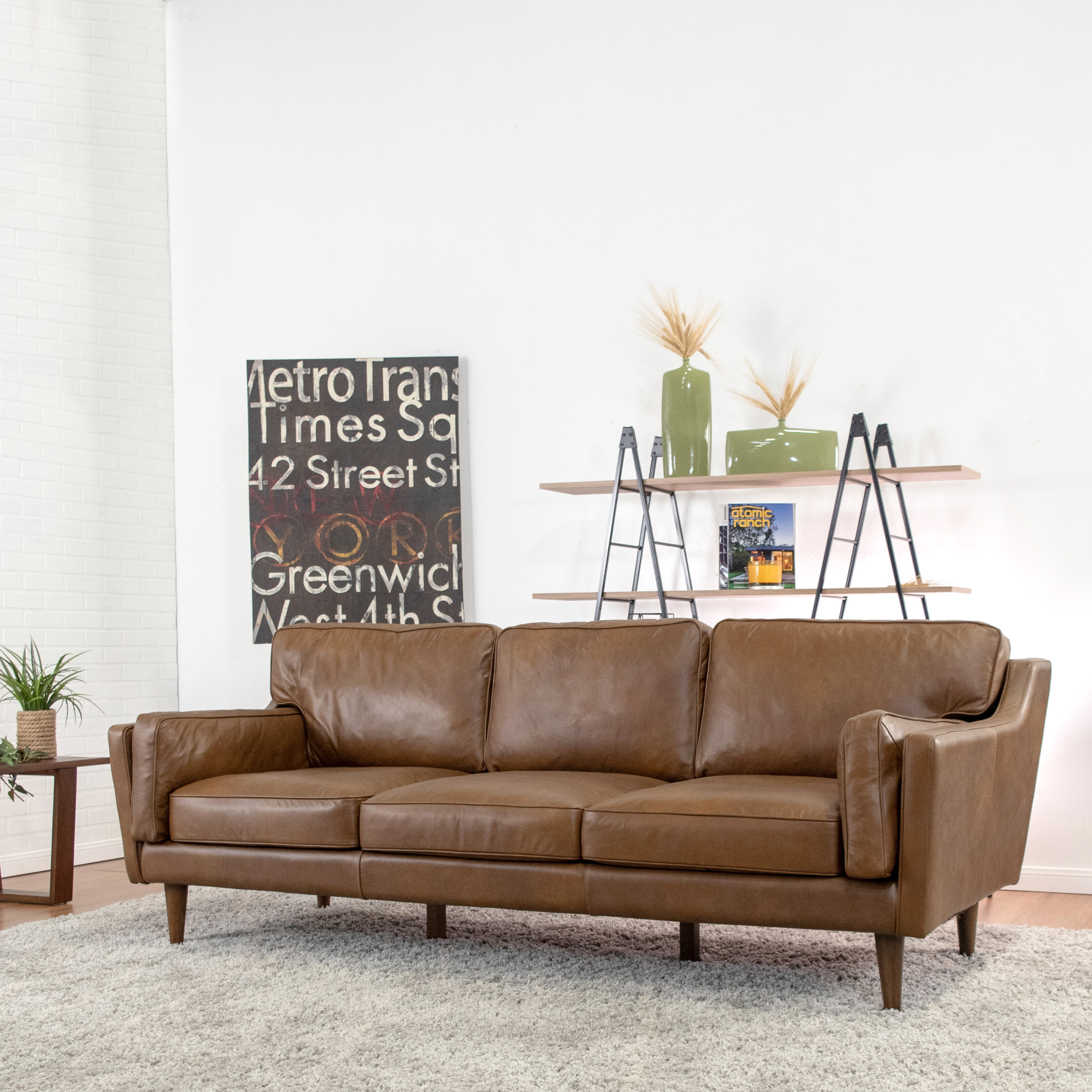 - Warren Mid Century Modern Leather 88