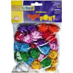 Glitter Pom Pons Bag Of 40 1