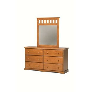 Chelsea Home 6 Drawer Double Dresser with Mi..