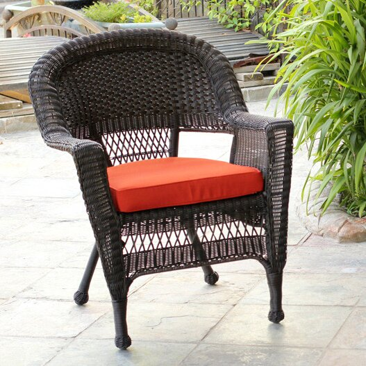 Burrowes Wicker Chair With Cushion