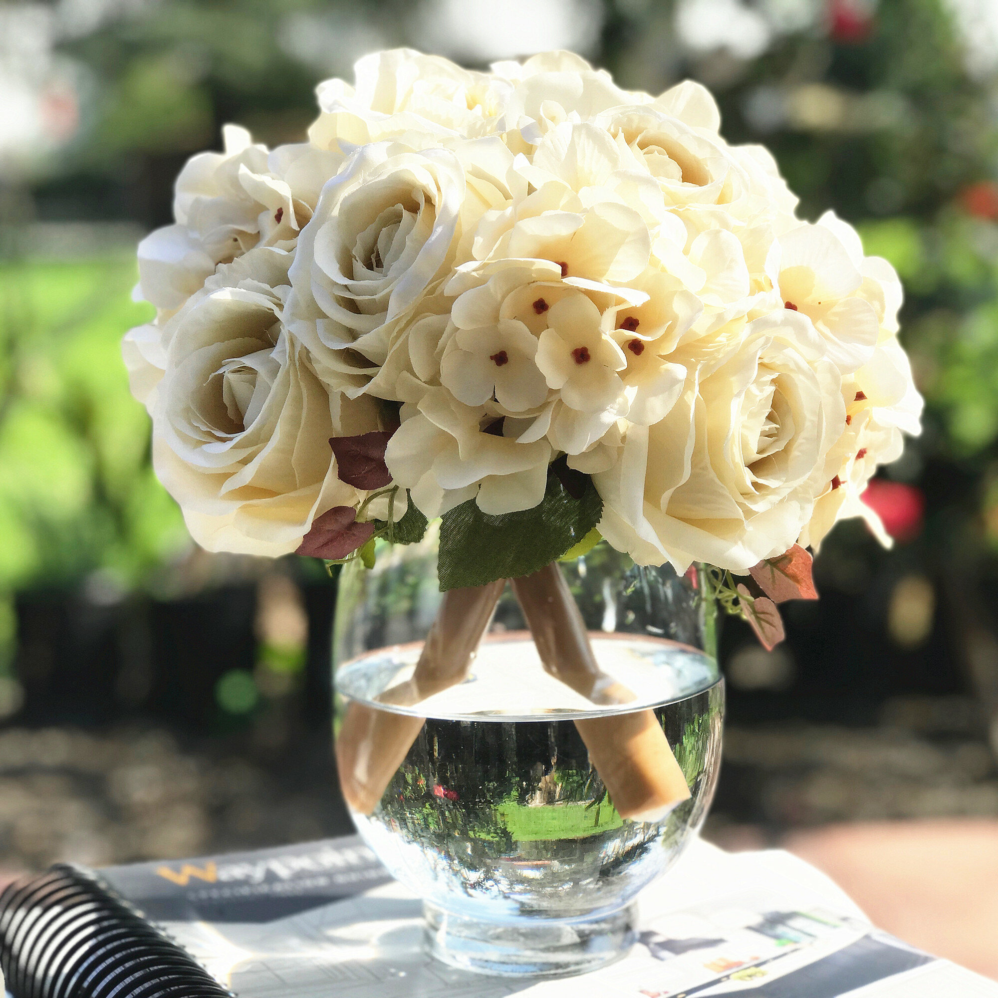 House Of Hampton Artificial Rose And Hydrangea Mixed Floral Arrangements And Centerpieces In Vase Reviews Wayfair