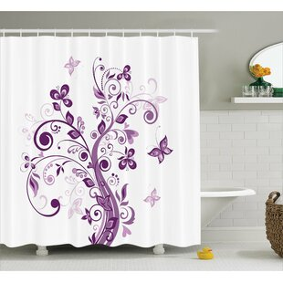 Judah Flowers Leaf Butterlies Single Shower Curtain