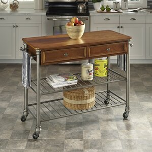 Kibbe Kitchen Island with Wood Top by Red Barrel Studio Compare Price