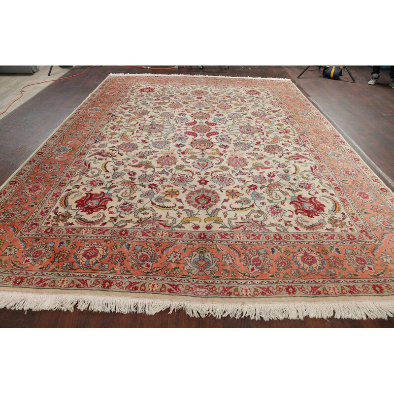 Rugsource One Of A Kind Hand Knotted 1950s Tabriz Red 9 7 X 13 1 Wool Area Rug Wayfair