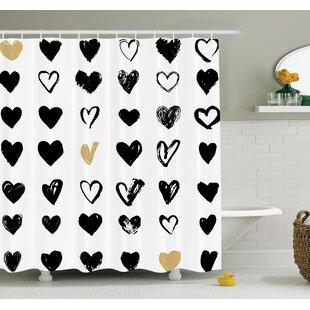 Best Reviews Junya Heart Icons Grunge Art Shower Curtain Set ByIvy Bronx