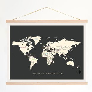 Magnetic world travel map wayfair personalized world travel map tapestry graphic art on canvas gumiabroncs Gallery