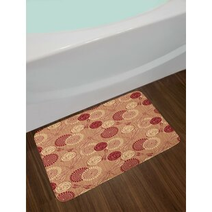 Vintage Burgundy Cream Peach Dragonfly Bath Rug by East Urban Home