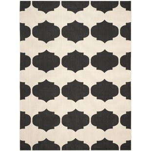 Short Black/Cream Indoor/Outdoor Area Rug