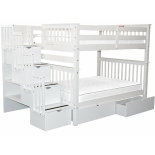 Tena Full Over Full Stairway Bunk Bed with Drawers by Harriet Bee