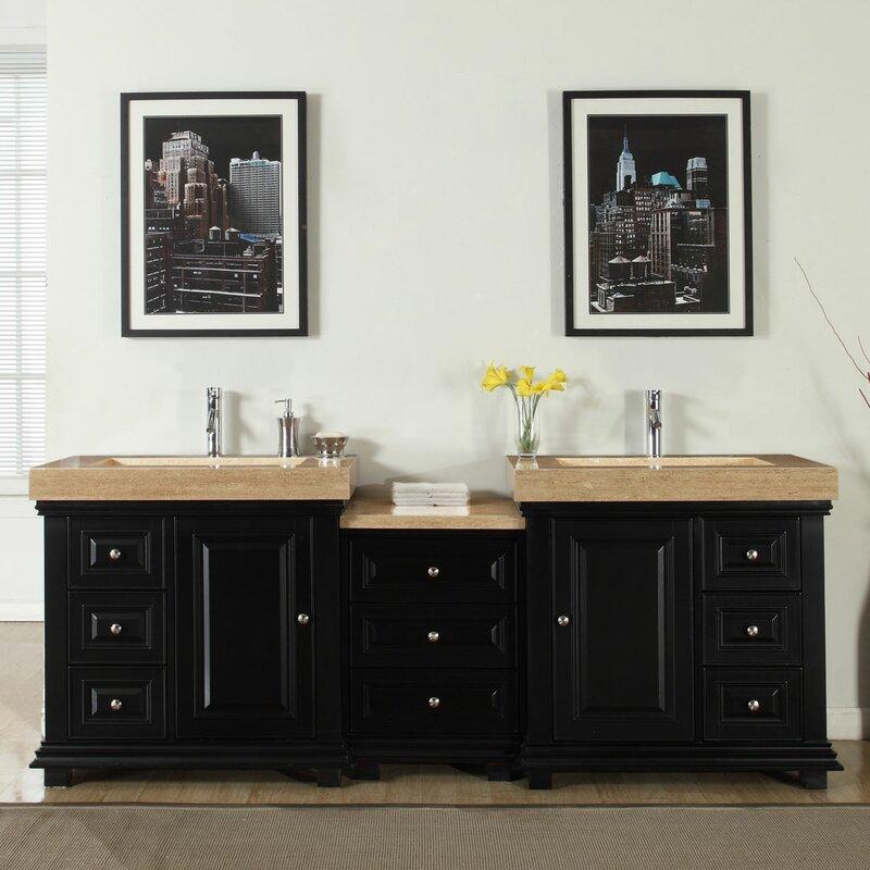 """Modern Bathroom Vanities Sinks silkroad exclusive 90"""" double sink modern bathroom vanity set"""