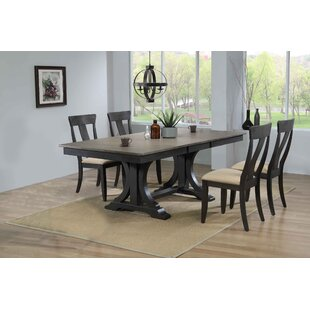Geoghegan Double Pedestal Panel Back 5-Piece Solid Wood Dining Set Gracie Oaks