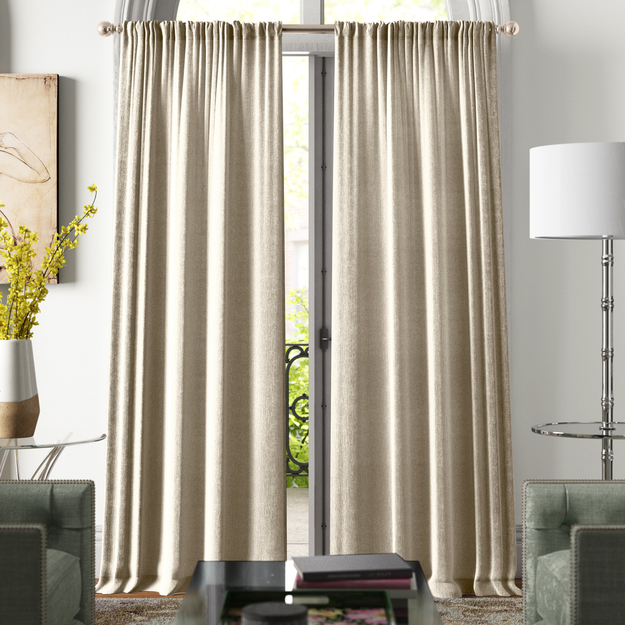 Modern Knotted Cotton Blend Solid Room Darkening Rod Pocket Curtain Panels Reviews Joss Main