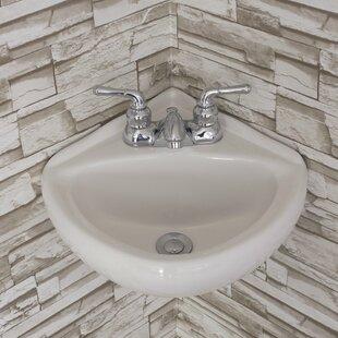 "Ceramic 15"" Corner Bathroom Sink"