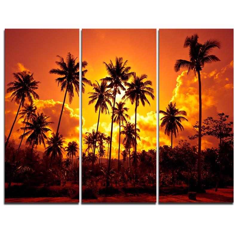 Designart Coconut Palms Against Yellow Sky 3 Piece Graphic Art On Wrapped Canvas Set Wayfair