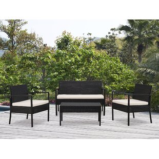 Kobe 4 Piece Rattan Sofa Set with Cushions
