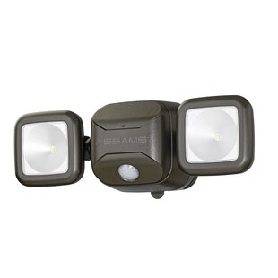 Mr. Beams Dual-Head LED Battery Operated Outdoor Security Spot Light with Motion Sensor