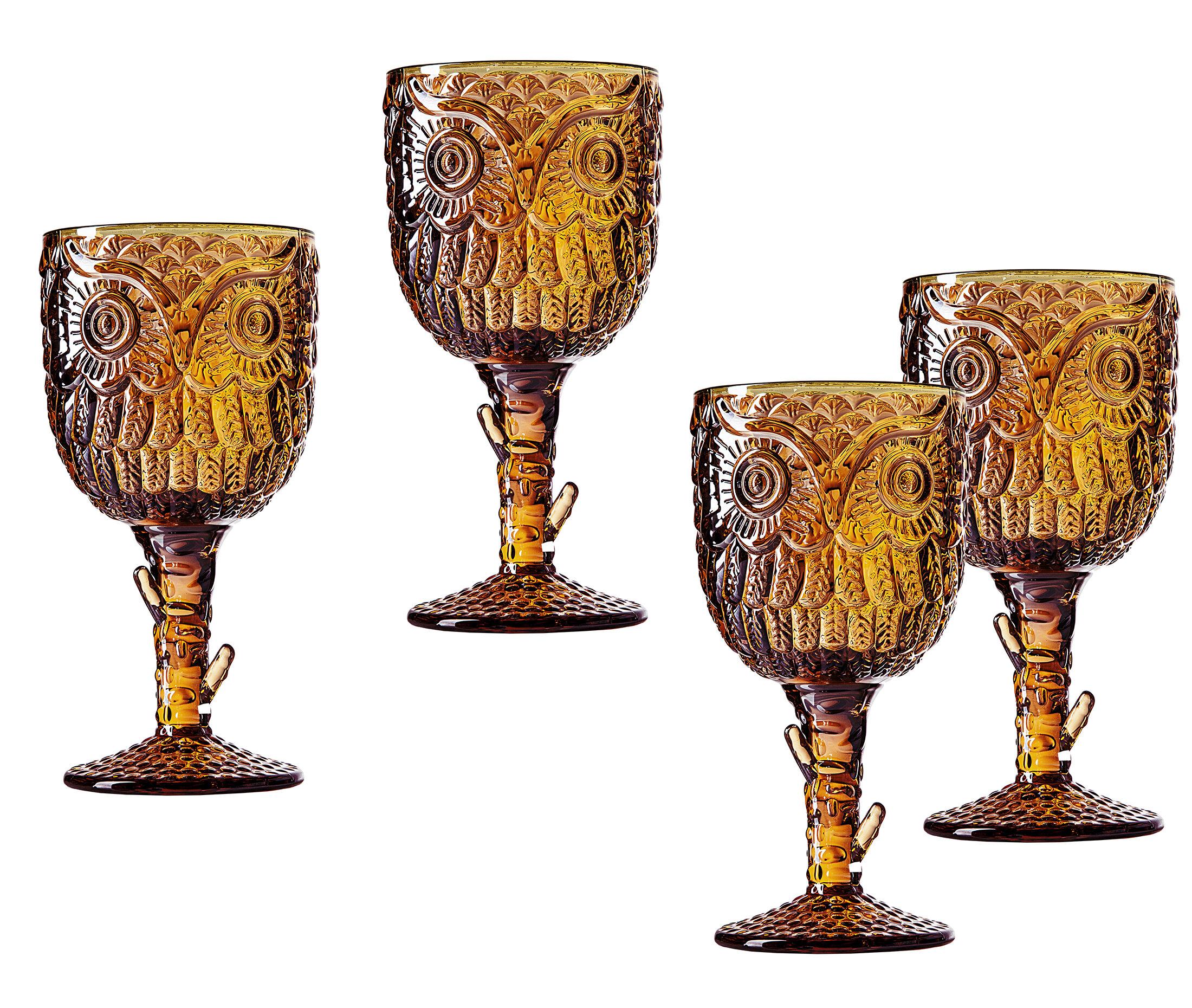 Godinger Silver Art Co Owl 10 Oz Glass Goblet Reviews Wayfair