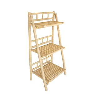 Bamboo 3 Tier Decorative Ladder Bookcase
