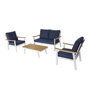 Leslee Outdoor 4 Piece Sofa Seating Group with Cushions