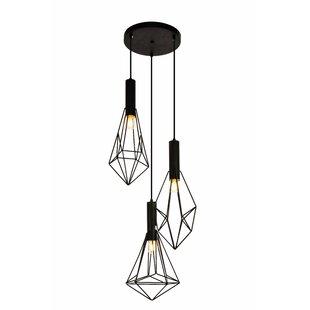 3 light cluster pendant industrial raven 3light cluster pendant pendants youll love wayfair
