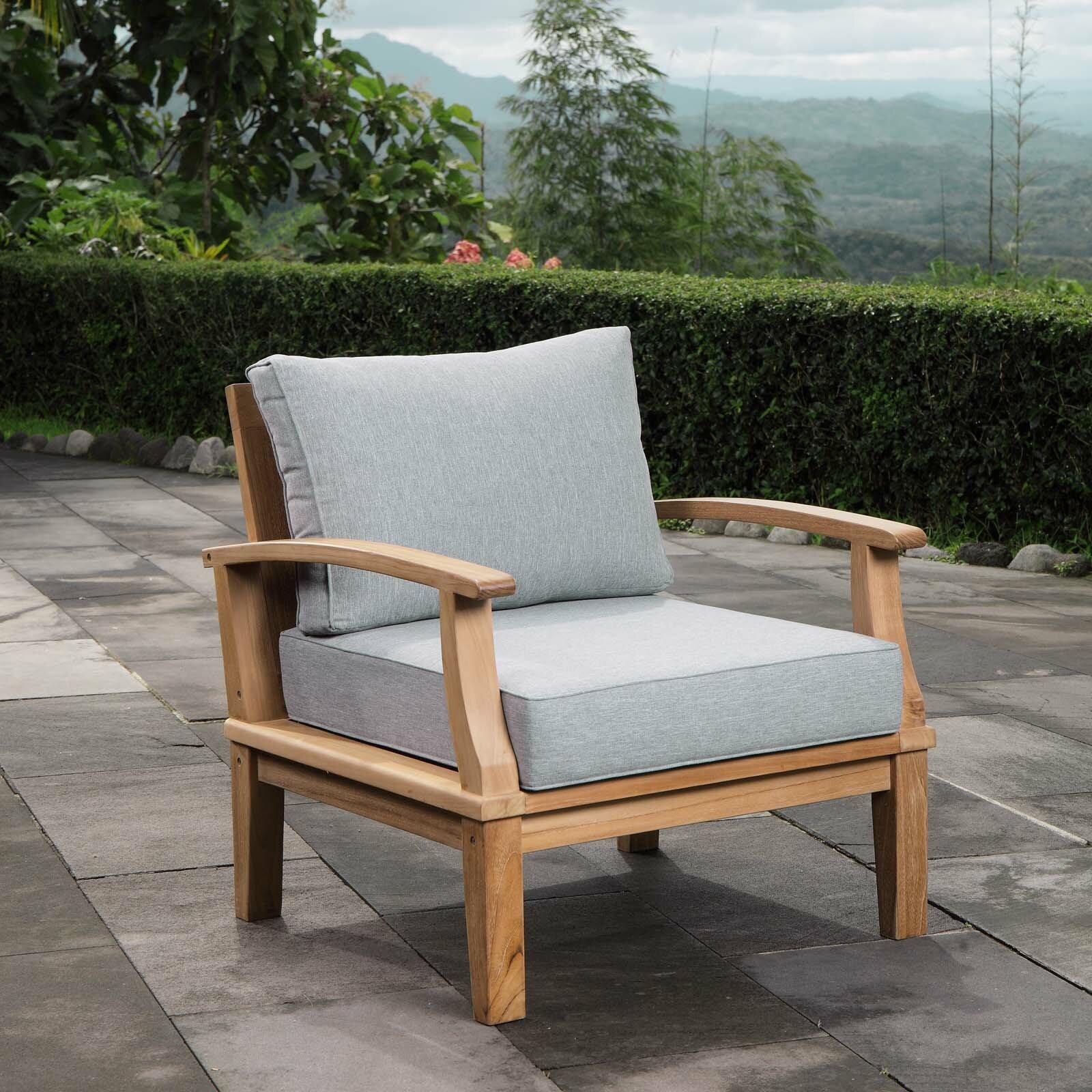 Elaina Teak Patio Chair With Cushion Reviews Birch Lane
