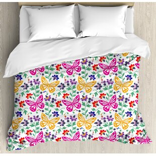 East Urban Home Spring Flowers Butterflies Plants Vibrant Summer Blooms Leaves Nature Wings Artful Design Duvet Set