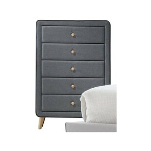 Rizal Wood and Fabric Upholstery 5 Drawer Chest