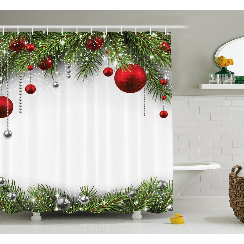 The Holiday Aisle Christmas Bright Baulbes Tree Shower Curtain Hooks Reviews Wayfair