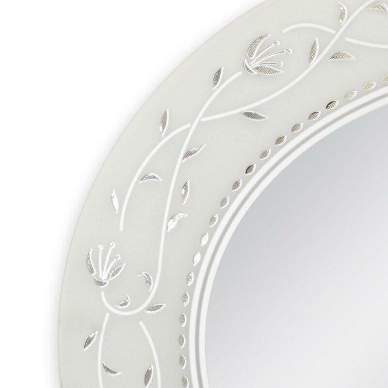 One Allium Way Oval Etched Border Bathroom/Vanity Mirror & Reviews