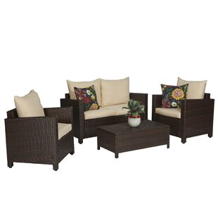 Belva 4 Piece Rattan Sofa Set with Cushions