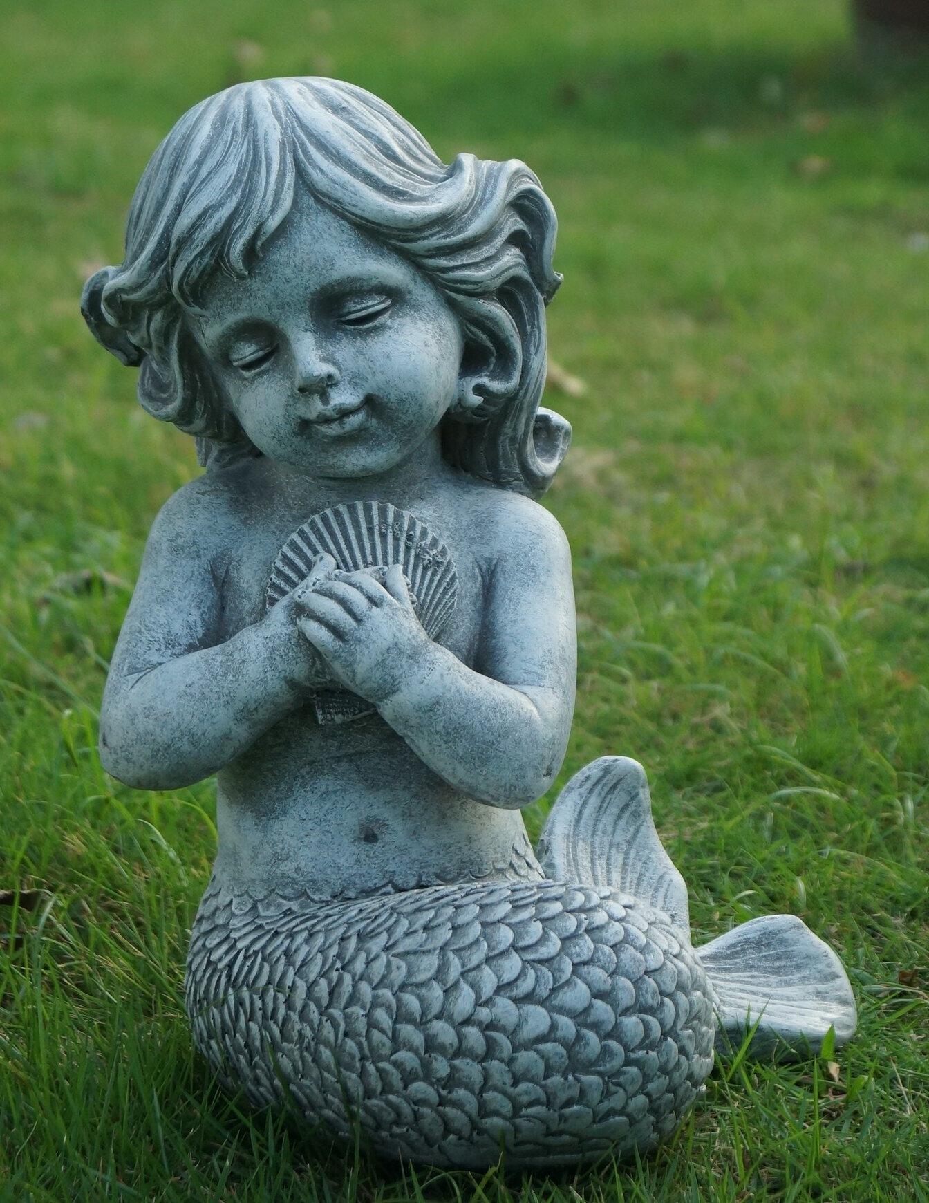 Hi Line Gift Ltd Mermaid Kneeling And Holding Shell Statue Reviews Wayfair