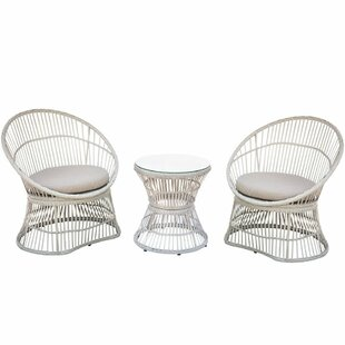 Moura 3 Piece Rattan Conversation Set With Cushions