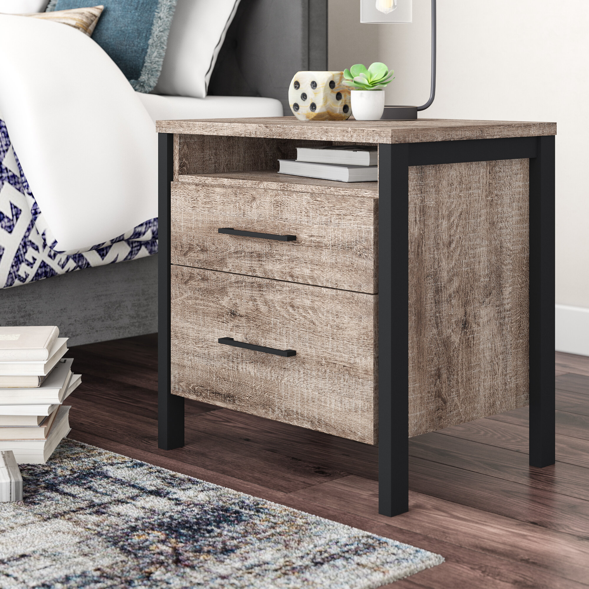 Nightstands Home Kitchen South Shore Gravity 2 Drawer Nightstand Ebony With Satin Nickel Finish Handles